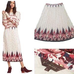 Anthropologie Ranna Gill floral Pleated Skirt Midi